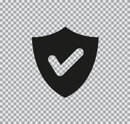 Vector flat icon of shield black on transparent background Illustration