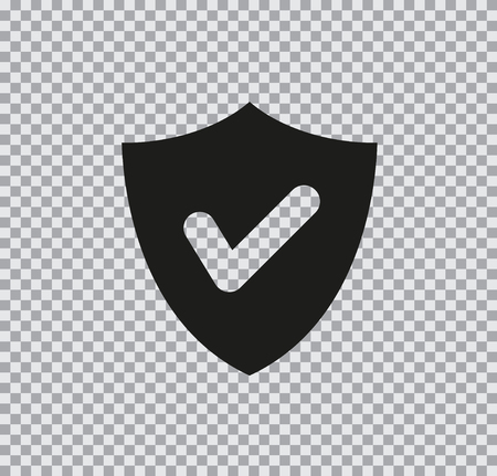 Vector flat icon of shield black on transparent background Ilustração