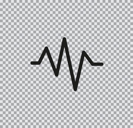 Vector flat icon cardiogram black on transparent background Иллюстрация