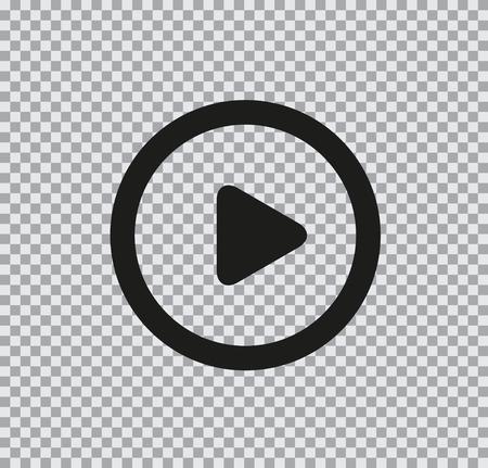 Icône plate vecteur de jouer en noir sur fond transparent