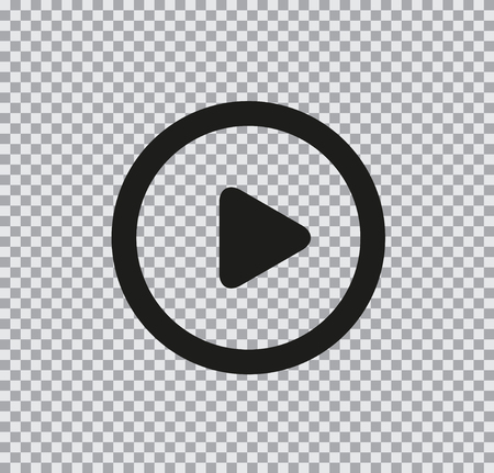 Vector flat icon of play black on a transparent background