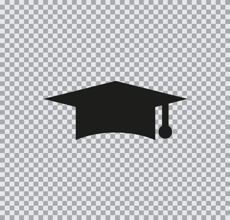 Vector icon graduate cap black on a transparent background