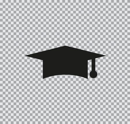 矢量图标毕业帽黑色透明背景