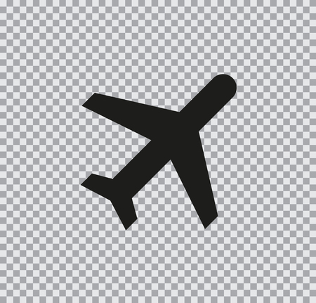 Vector icon aircraft black on a transparent background