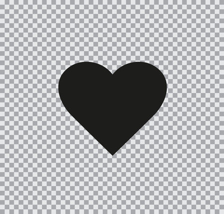 Vector flat heart icon black on a transparent background Çizim