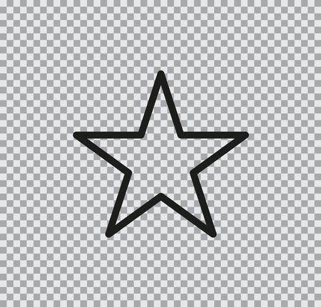 Vector flat icon of star black on a transparent background Ilustração