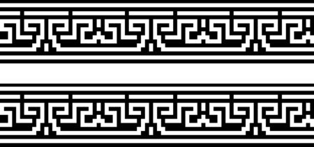 Seamless greek ornament on black and white background,
