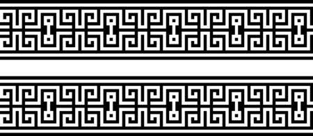 Seamless greek ornament on black and white background