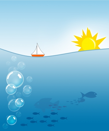 Illustration of sun and sea with sea creatures illustration