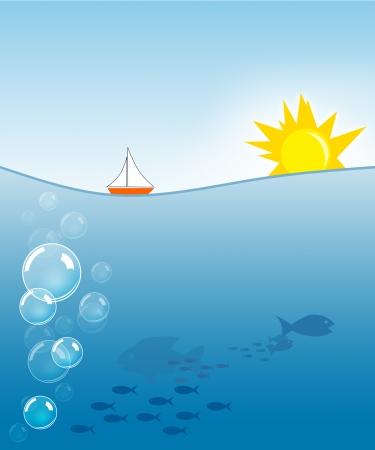 sea creature: Illustration of sun and sea with sea creatures