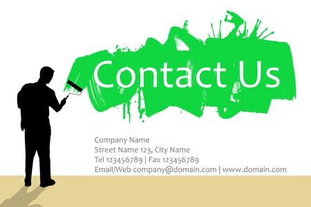 contact info: L'uomo muro dipinto con pennello e modulo di contatto qui sotto