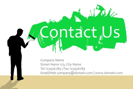 contact icons: Man painting wall with paintbrush and contact form below