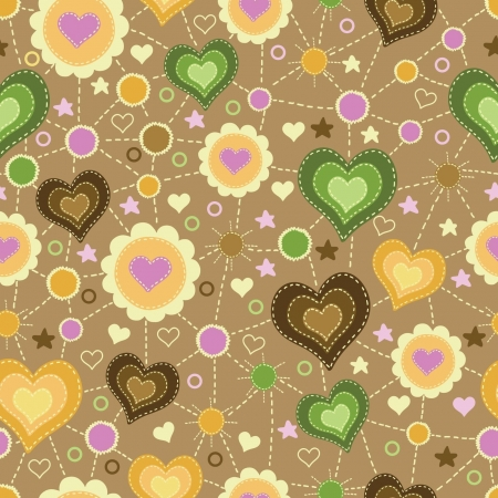 seamless pattern with applique of hearts
