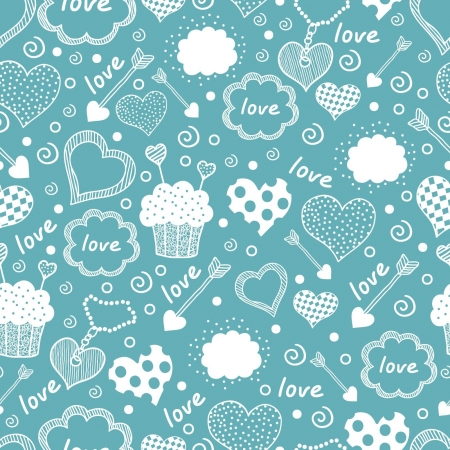 seamless texture with hearts Vector