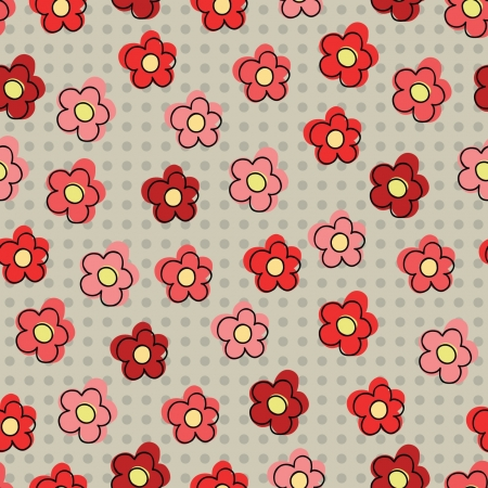 Seamless pattern with red flowers Stock Vector - 17339588