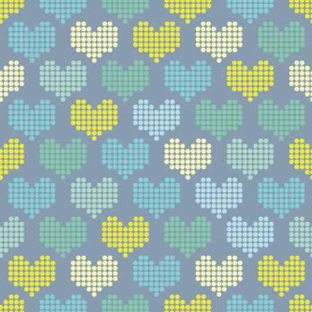 mosaic hearts on a blue background Illustration
