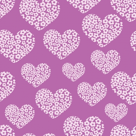 small purple flower: seamless pattern with heart of flowers