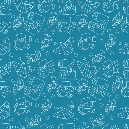 invent things: seamless abstract pattern on a blue background Illustration