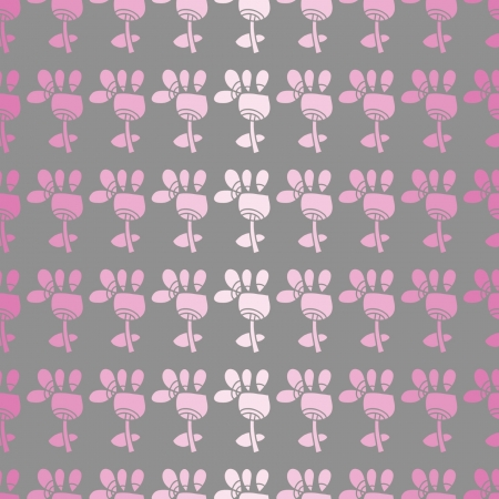 seamless pattern with pink flowers on a grey background