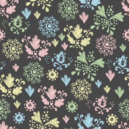 seamless floral pattern drawn in chalk Stock Vector - 18154413
