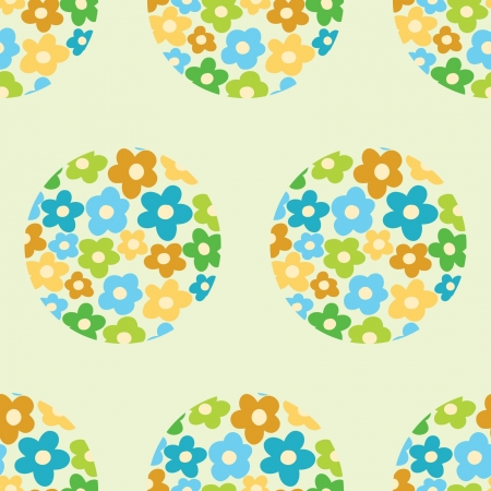 seamless pattern with flowers in the circle Vector