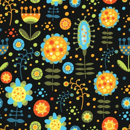 seamless floral pattern on a dark background Stock Vector - 18524385