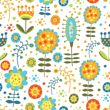 seamless bright floral pattern on a white background Illustration