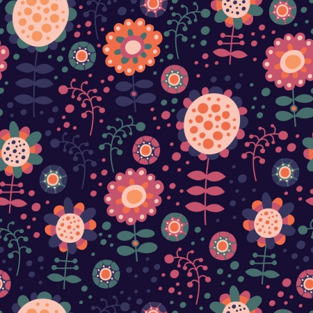 seamless color pattern with flowers Stock Vector - 18596263