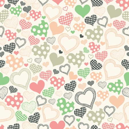 seamless pattern with hearts on a light background