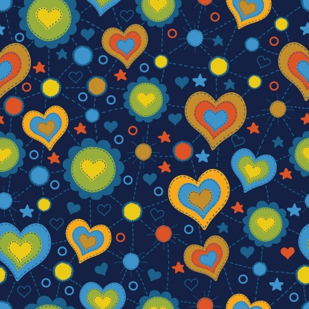 seamless pattern with the application of hearts