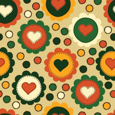 Seamless background with embroidered hearts