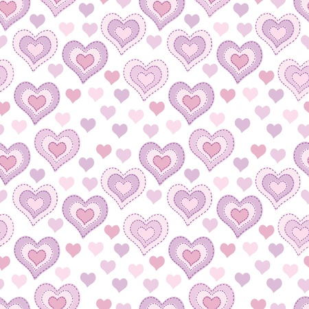 larger: Seamless pattern with light pink hearts Illustration