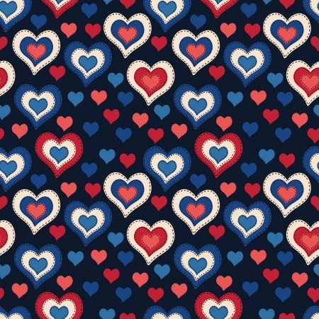 Seamless pattern with hearts on a dark background Illustration