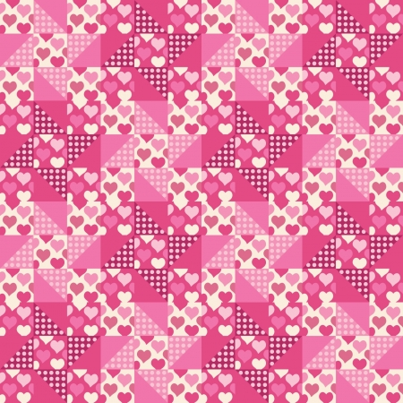 Seamless pattern, patchwork with hearts Vector