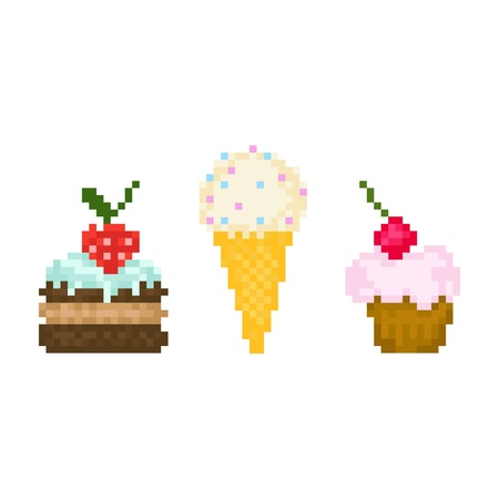 Set pixel sweets Ilustracja