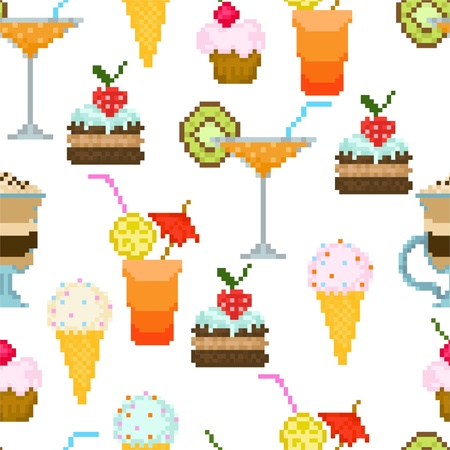 Seamless pattern with drinks and dessert Vector