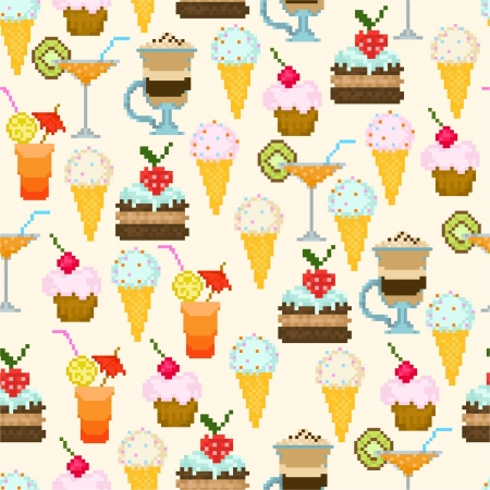 Seamless pattern with drinks and sweets Vector