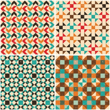 Set retro seamless geometric patterns Vector