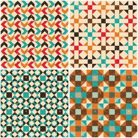 Set retro seamless geometric patterns Illustration