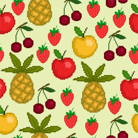 Seamless pattern with pixel fruit Vector