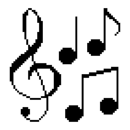 Illustration pixel music notes Vector