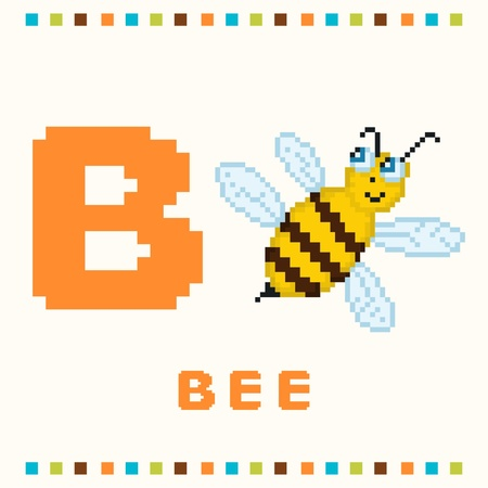 Alphabet for children, letter b and a bee isolated Vector