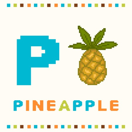 Alphabet for children, letter p and a pineapple isolated Vector