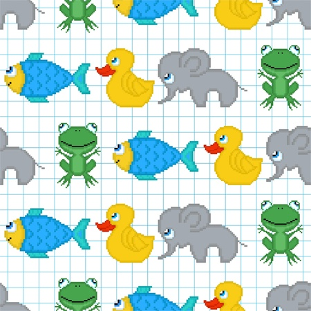game fish: Seamless pattern with pixel animals