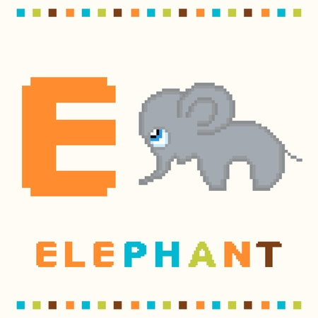 Alphabet for children, letter e and an elephant isolated Vector