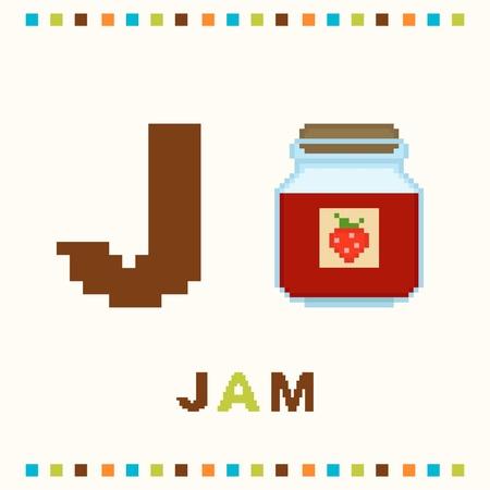 letter j: Alphabet for children, letter j and jam isolated
