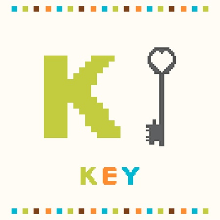 Alphabet for children, letter k and a key isolated Vector