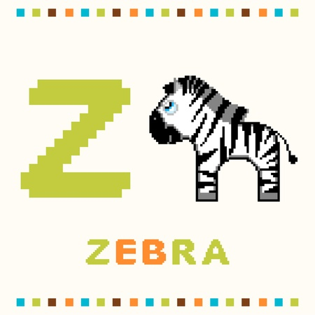Alphabet for children, letter z and a zebra isolated Vector