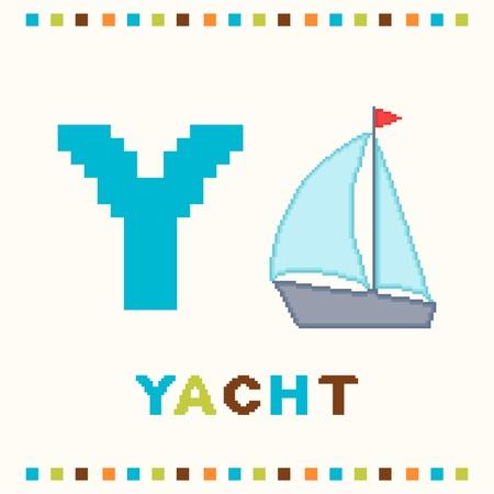 yacht isolated: Alfabeto para los ni�os, la letra y y un yate aislados