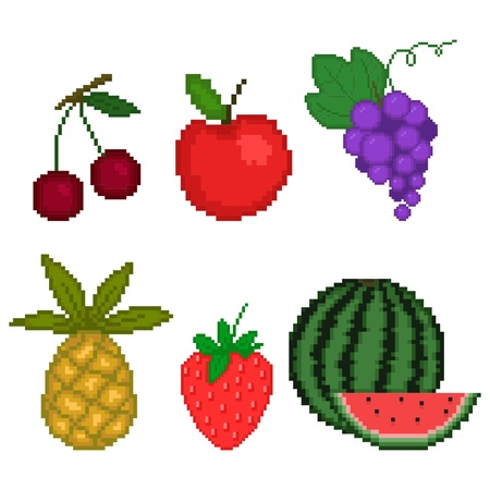 Set fruit in pixel art style on a white background